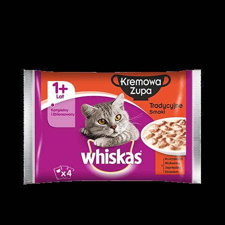 Mokra karma dla kota 1+ WHISKAS® Kremowa Zupa Tradycyjne Smaki 4x85 g