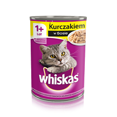 Whiskas® puszka z kurczakiem w sosie. 1+