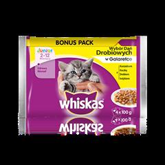 Whiskas® wybór dań drobiowych w galarecie. <br/>2-12 miesięcy.