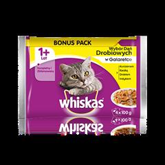 Whiskas<sup>®</sup> wybór dań drobiowych w galaretce. 1+