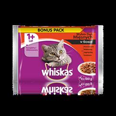 Whiskas<sup>®</sup> wybór dań mięsnych w sosie. 1+