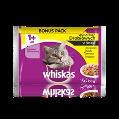 Whiskas<sup>®</sup> wybór dań drobiowych w sosie. 1+