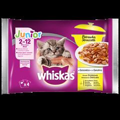 Mokra karma dla kociąt WHISKAS® Junior Potrawka Smaki Drobiowe w Galaretce 4x85 g