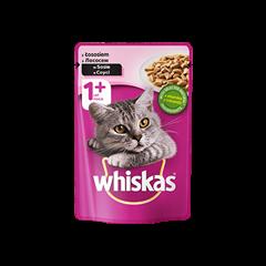 Mokra karma dla kota 1+ WHISKAS® z Łososiem w Sosie, 100 g