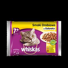 Mokra karma dla kota 7+ WHISKAS® Smaki Drobiowe w Galaretce 4x 100 g
