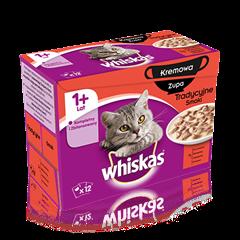 Whiskas<sup>®</sup> kremowa zupa smaki tradycyjne. 1+