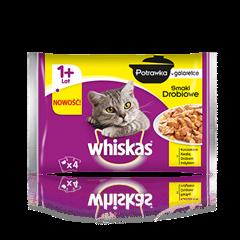 Whiskas<sup>®</sup> potrawka smaki drobiowe w galarecie. 1+