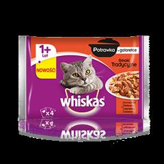 Whiskas<sup>®</sup> potrawka smaki tradycyjne w galarecie. 1+