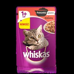 Whiskas<sup>®</sup> potrawka z wołowiną galarecie. 1+