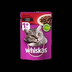 Mokra karma dla kota 1+ WHISKAS® z Wołowiną w Sosie, 100 g