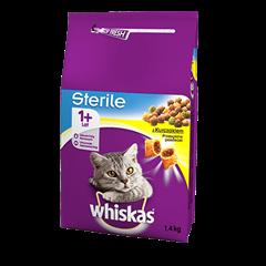 Karma sucha dla kota po sterylizacji WHISKAS® 1+ Sterile z Kurczakiem 1,4 kg