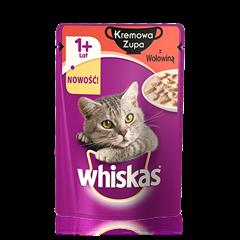 Whiskas<sup>®</sup> zupa kremowa z wołowiną.  1+