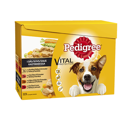 PEDIGREE® Kyckling & Grönsaker | Oxe & Grönsaker | Kalkon & Morötter  | Oxe & Lamm i sås