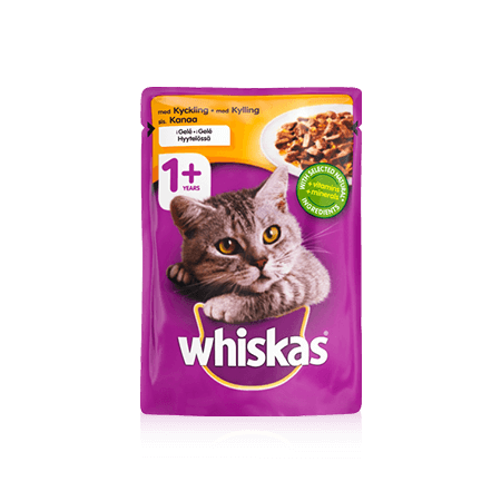 Whiskas 1+ Kyckling i gelé Single