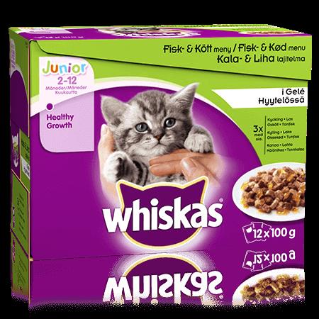 Whiskas® Junior Fisk- & Köttmeny i Gelé