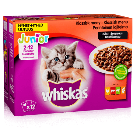 Whiskas® Junior Klassisk meny i sås 12x100g