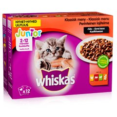 Whiskas® Junior Klassisk meny i sås 12x100g