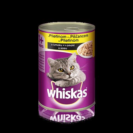 Whiskas pločevinka s Piščancem v omaki 1+  400 g