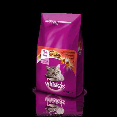 Whiskas suha hrana z Govedino 1+ 1.4 kg