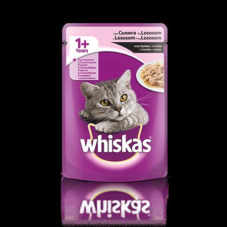 Whiskas v vrečki 1+ z Lososom  100 g