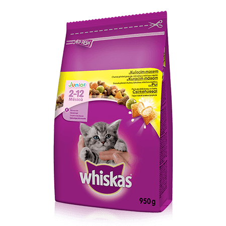 WHISKAS® granule Junior s kuracím 950g