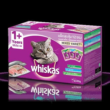 วิสกัส<sup>®</sup> แบบซอง มัลติแพค แมวโต 1+ รวมรส (ปลาทะเล,ปลาทูน่า,ปลาทูน่าและปลาเนื้อขาว) | WHISKAS<sup>®</sup>