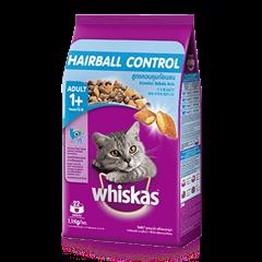 วิสกัส® แบบเม็ด แมวโต 1+ <br/>สูตรควบคุมก้อนขน รสไก่และปลาทูน่า | WHISKAS®