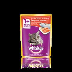 วิสกัส® แบบซอง แมวโต 1+ <br/>ปลาทูและปลาแซลมอน | WHISKAS®