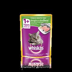 วิสกัส® แบบซอง แมวโต 1+ <br/>ปลาทูน่าและปลาเนื้อขาว | WHISKAS®