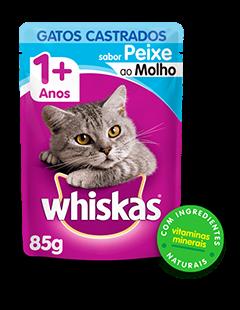 Sachê de Ração úmida para Gatos Castrados WHISKAS® Adulto Sabor Peixe ao Molho