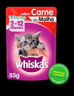 Sachê de Ração úmida para Gatos Filhotes WHISKAS® Sabor Carne ao Molho