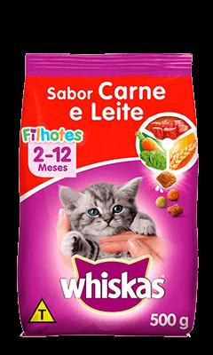 Ração Seca para Gatos Filhotes WHISKAS® Sabor Carne e Leite 500g