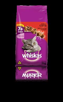 Ração para Gatos Whiskas® Adulto 7+ Sabor Carne 3kg
