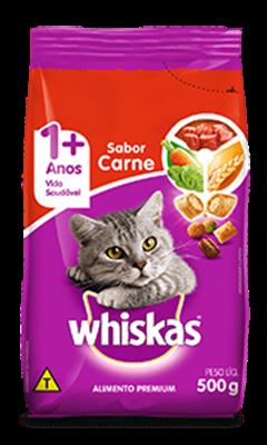 Ração Seca para Gatos WHISKAS® Adulto Sabor Carne 500g