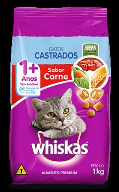 Ração para Gatos Castrados WHISKAS Sabor Carne 1kg