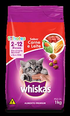 Ração Seca para Gatos Filhotes WHISKAS® Sabor Carne e Leite 1kg