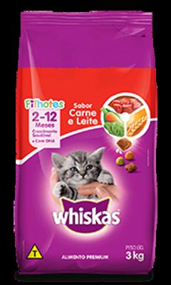 Ração Seca para Gatos Filhotes WHISKAS® Sabor Carne e Leite 3kg