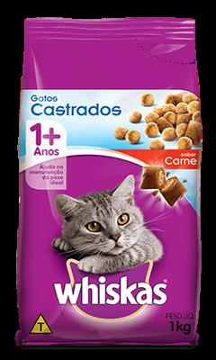Ração para Gatos Castrados WHISKAS® Sabor Carne 1kg