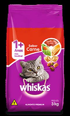 Ração Seca para Gatos WHISKAS® Adulto Sabor Carne 3kg