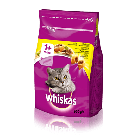 WHISKAS® Смачні подушечки з курятиною для дорослих котів, 950 г