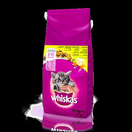 WHISKAS®  Смачні подушечки з курятиною для кошенят, 14 кг