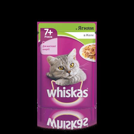 WHISKAS® з ягням у желе для котів старше 7 років, 100 г