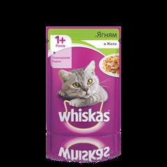 WHISKAS® з ягням у желе для дорослих котів, 100 г