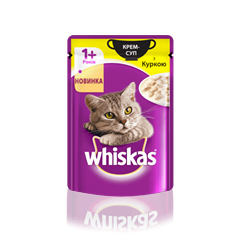 WHISKAS®  Крем-суп з куркою для дорослих котів, 85 г