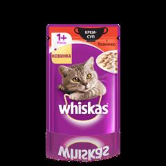 WHISKAS®  Крем-суп з яловичиною для дорослих котів, 85 г