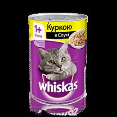 WHISKAS® з куркою в соусі для дорослих котів, 400 г