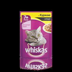 WHISKAS® з куркою в соусі для котів старше 7 років, 100 г