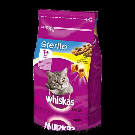 WHISKAS®   Вкусные подушечки с курицей для стерилизованных котов, 350 г