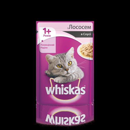 WHISKAS® с лососем в соусе для взрослых кошек, 100 г