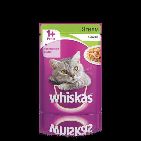 WHISKAS® с ягненком в желе для взрослых кошек, 100 г